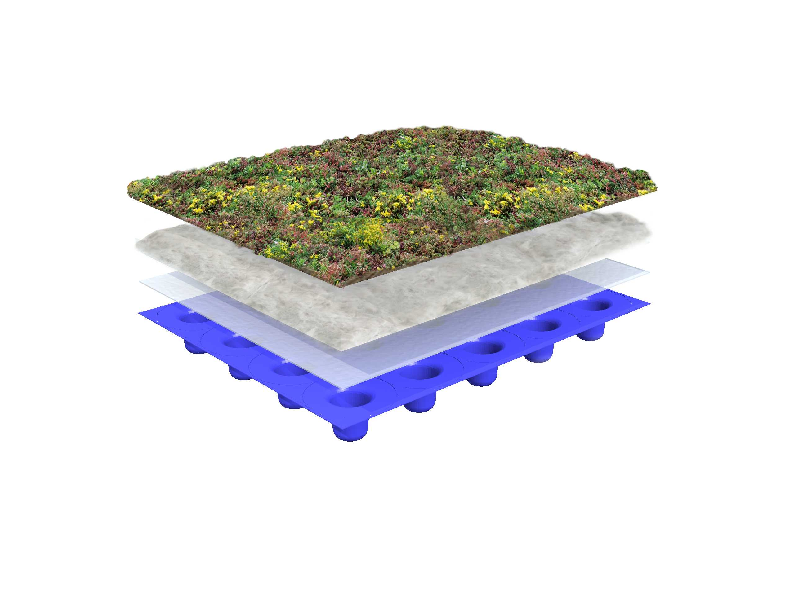 System structure lightweight green roof 0-15 degrees