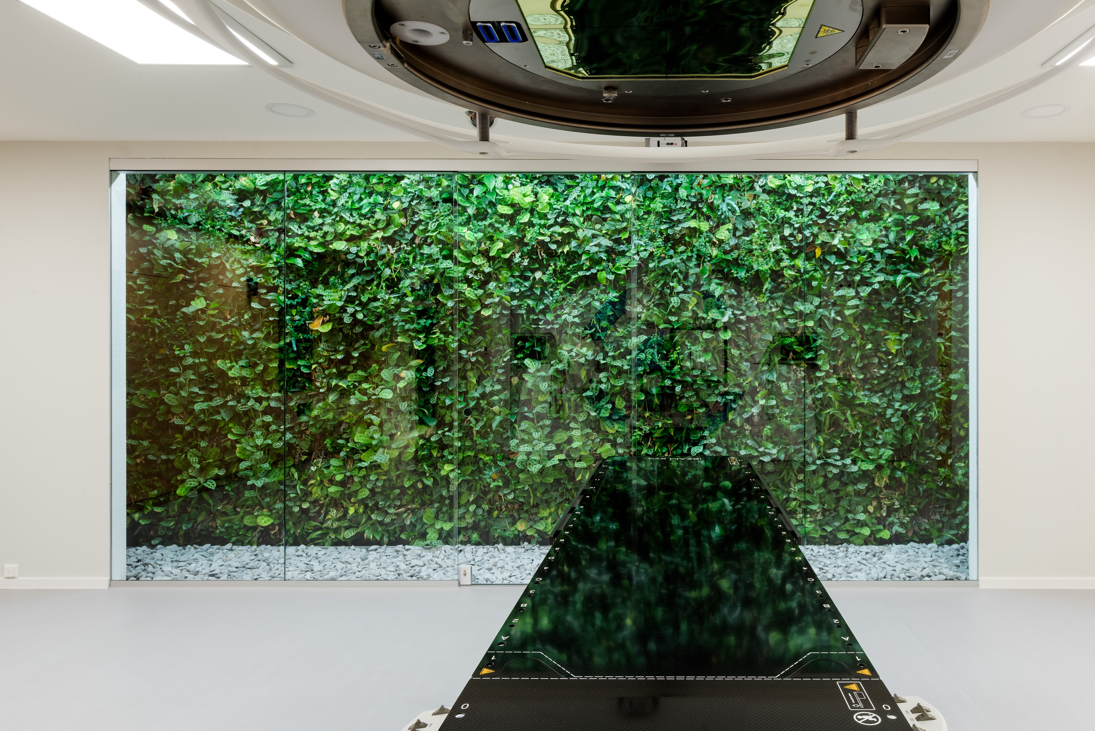 The radiation room, a naturally clinical room, is provided with a living SemperGreenwall.